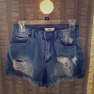 Forever 21- High waisted distressed denim shorts